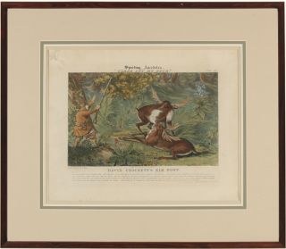 """SPORTING ANECDOTES. """"CLEAR OUT MY BUCK."""" PLATE 17. DAVID CROCKETT'S ELK HUNT."""