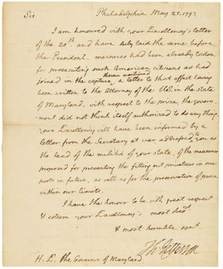 AUTOGRAPH LETTER, SIGNED, FROM THOMAS JEFFERSON AS SECRETARY OF STATE, TO MARYLAND GOVERNOR...