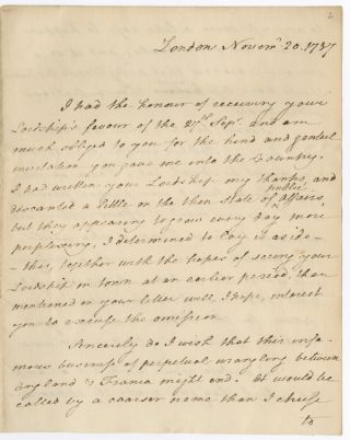 AUTOGRAPH LETTER, SIGNED, FROM THOMAS PAINE TO WILLIAM PETTY, FORMER EARL OF SHELBURNE AND...