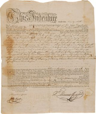 NEW JERSEY LAND INDENTURE BETWEEN THUNNIS RYERSON AND CHARLEY STUARD FOR LAND IN BERGEN COUNTY,...