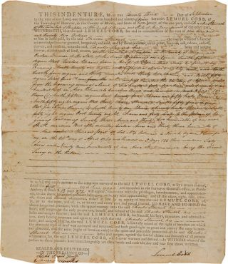 NEW JERSEY LAND INDENTURE BETWEEN LEMUEL COBB AND CHARLES STEWART FOR LAND IN BERGEN COUNTY, NEW...