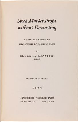 STOCK MARKET PROFIT WITHOUT FORECASTING: A RESEARCH REPORT ON INVESTMENT BY FORMULA PLAN.