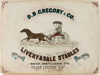 D.B. GREGORY & CO. LIVERY & SALE STABLES BEST STOCK HORSES & BUGGIES...OSAGE MISSION KAN....