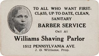 TO ALL WHO WANT FIRST-CLASS, UP-TO-DATE, CLEAN, SANITARY BARBER SERVICE CALL AT WILLIAMS SHAVING...