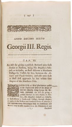 ANNO REGNI GEORGII III. REGIS MAGNAE BRITANNIAE, FRANCIAE, & HIBERNIAE, DECIMO SEXTO. AT THE PARLIAMENT BEGUN AND HOLDEN AT WESTMINSTER, THE TWENTY-NINTH DAY OF NOVEMBER, ANNO DOMINI 1774...AND FROM THENCE CONTINUED, BY SEVERAL PROROGATIONS, TO THE TWENTY-SIXTH DAY OF OCTOBER, 1775; BEING THE SECOND SESSION OF THE FOURTEENTH PARLIAMENT OF GREAT BRITAIN.