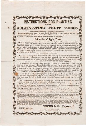INSTRUCTIONS FOR PLANTING AND CULTIVATING FRUIT TREES [caption title]. Fruit Trees, Heiks and...