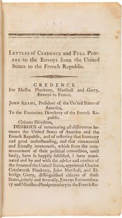 MESSAGE OF THE PRESIDENT...TO BOTH HOUSES OF CONGRESS. APRIL 3d, 1798.
