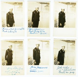 COLLECTION OF THIRTEEN REAL PHOTO POSTCARDS SIGNED BY AFRICAN-AMERICAN MIDSHIPMEN DURING WORLD...