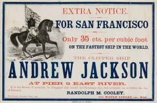 EXTRA NOTICE. FOR SAN FRANCISCO. ONLY 35 CTS. PER CUBIC FOOT ON THE FASTEST SHIP IN THE WORLD....