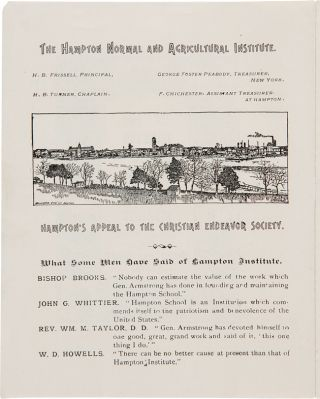 THE HAMPTON NORMAL AND AGRICULTURAL INSTITUTE AND ITS WORK FOR NEGRO AND INDIAN YOUTH.... HAMPTON'S APPEAL TO THE CHRISTIAN ENDEAVOR SOCIETY [wrapper title and inside front cover text].