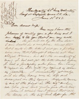 [ARCHIVE OF AUTOGRAPH LETTERS, SIGNED, BY LT. COL. JOSEPH STEDMAN OF THE 6th AND 42nd REGIMENTS MASSACHUSETTS VOLUNTEERS, WITH ACCOUNTS OF SKIRMISHES IN BALTIMORE, A LONG ACCOUNT OF THE BATTLE OF GALVESTON, AND A DETAILED ACCOUNT OF THE BATTLE OF LaFOURCHE CROSSING IN LOUISIANA].