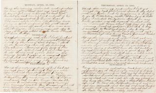 MANUSCRIPT DAILY JOURNAL KEPT BY HARVEY M. GEER OF TROY, NEW YORK, DURING THE FINAL YEAR OF THE...