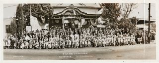 PANORAMIC PHOTOGRAPH CELEBRATING THE ANNIVERSARY OF THE OPENING OF THE BUDDHIST SCHOOL AT THE LOS...