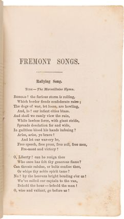 THE CAMPAIGN OF 1856. FREMONT SONGS FOR THE PEOPLE, ORIGINAL AND SELECTED.