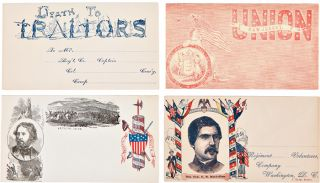 [SUBSTANTIAL COLLECTION OF 119 UNUSED CIVIL WAR-ERA PATRIOTIC POSTAL COVERS, ALL BUT ONE OF THEM ILLUSTRATED, ALMOST ALL WITH ORIGINAL PRINTED OR HAND-COLORING].
