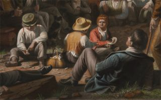 STUMP SPEAKING. THIS PRINT FROM THE ORIGINAL PAINTING BY GEO. C. BINGHAM ESQ. IS RESPECTFULLY DEDICATED TO THE FRIENDS OF AMERICAN ART BY THE PUBLISHERS GOUPIL & CO.
