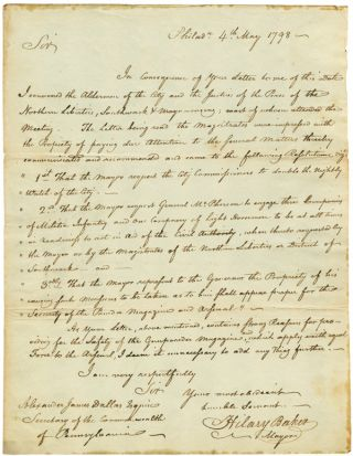 AUTOGRAPH LETTER, SIGNED, FROM HILARY BAKER, THE MAYOR OF PHILADELPHIA, TO ALEXANDER JAMES...