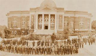 PRESIDENT MOTON AND FACULTY WITH TRUSTEES OF TUSKEGEE INSTITUTE AND ENTIRE STUDENT BODY TUSKEGEE, ALA. FOUNDER'S DAY, APRIL 5th 1918.