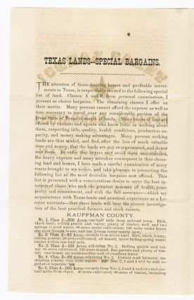 TEXAS LANDS! SPECIAL BARGAINS! BY HENRY H. HANNAN, LAND AND EMIGRATION AGENT, SWAN CREEK, OHIO.