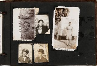 [ANNOTATED VERNACULAR PHOTOGRAPH ALBUM KEPT BY AN AFRICAN-AMERICAN WOMAN FROM WASHINGTON, D.C., DOCUMENTING HER FAMILY MEMBERS, ESPECIALLY HER MILITARY BROTHERS WHO SERVED IN WORLD WAR II].