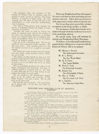 THE READERS AND WRITERS CLUB OF AMERICA PRESENTS THE NEGRO STUDENT VOL. 1 NO. 1 MAY 1937 [wrapper title].