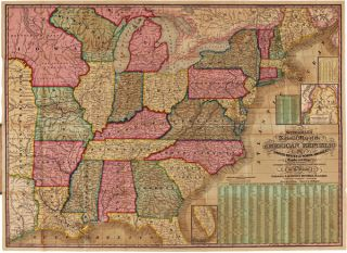 MITCHELL'S NATIONAL MAP OF THE AMERICAN REPUBLIC OR UNITED STATES OF NORTH AMERICA. TOGETHER WITH...