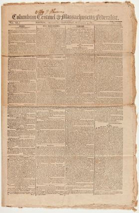COLUMBIAN CENTINEL & MASSACHUSETTS FEDERALIST. Boston Newspaper