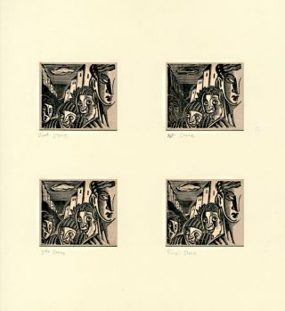 Sequence of Four States of a Wood Engraving for:] JOHN AUSTEN AND THE INSEPARABLES. John Austen