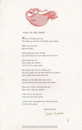TALK IN THE DARK [caption title]. Denise Levertov