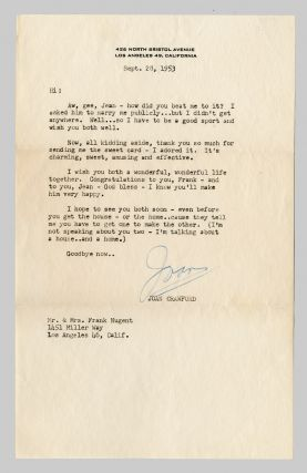 TYPED LETTER, SIGNED. Joan Crawford