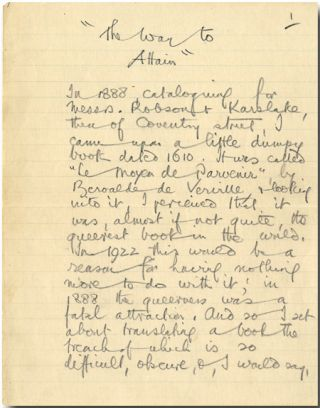 "Autograph Manuscript, Signed, of ""THE WAY TO ATTAIN."" Arthur Machen"