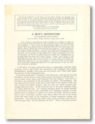 A BOY'S ADVENTURE [THE WHIPPING BOY'S STORY] [caption title]. Samuel L. Clemens, Mark Twain, pseud