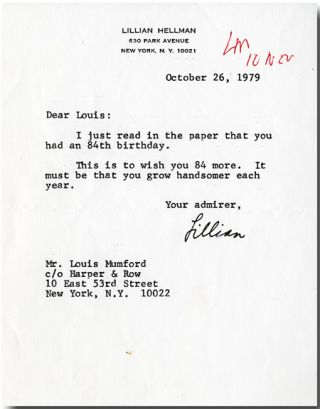"Typed Letter, Signed (""Lillian"")]. Lillian Hellman"
