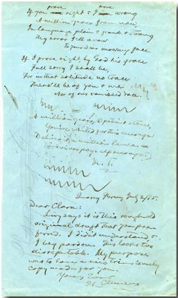 "Autograph Manuscript, Signed (""M.T.""), Incorporating an Autograph Note, Signed]. Samuel L. Clemens"