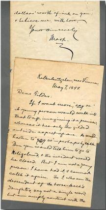 "Autograph Letter, Signed ""Mark,"" to Richard Watson Gilder"