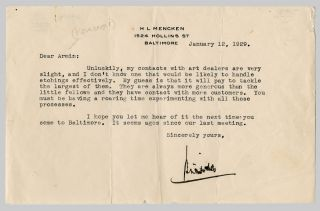 TYPED LETTER, SIGNED, TO ARMINE HEMBERGER. H. L. Mencken