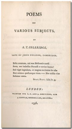 POEMS ON VARIOUS SUBJECTS. Samuel Taylor Coleridge