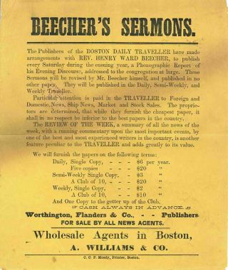 BEECHER'S SERMONS. THE PUBLISHERS OF THE BOSTON DAILY TRAVELLER .... [caption title]. Henry Ward...