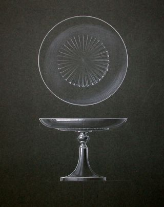 ORIGINAL DESIGN FOR ART DECO CAKE PEDESTAL]. Art Deco Manufacturing Design