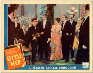 Original color studio lobby card for:] LITTLE MEN. Louisa M. Alcott, sourcework