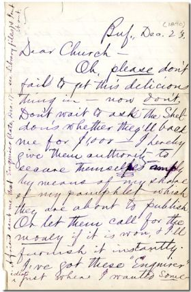 "Original Autograph Letter, Signed (""Mark"") To Willard Church]. Samuel L. Clemens"