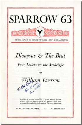 DIONYSUS & THE BEAT FOUR LETTERS ON THE ARCHETYPE [wrapper title]. William Everson