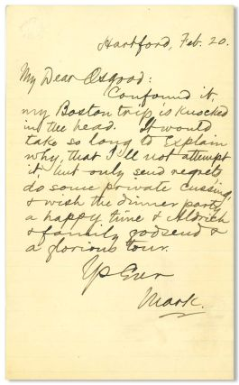 "Autograph Letter, Signed (""Mark""), to James R. Osgood]. Samuel L. Clemens"