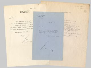 "Three Typed Letters, Signed ""Ludwig""]. Ludwig Bemelmans"