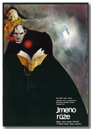 Original Czechoslovakian Theatrical Poster for:] JMÉNO RUZE [THE NAME OF THE ROSE]. Umberto Eco,...