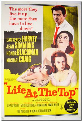Original Color Lithographed Australian One Sheet for:] LIFE AT THE TOP. John Braine, Mordecai...