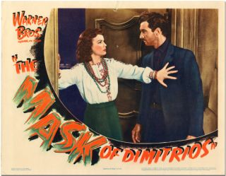 Original Lobby Card for:] THE MASK OF DIMITRIOS. Eric Ambler, Stephen M. Avery, sourcework,...