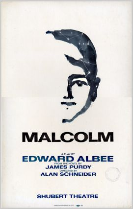 Theatre Window Card for:] MALCOLM. Edward Albee, James Purdy, dramatist, sourcework