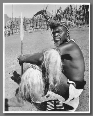 Original Gelatin Silver Print Portrait Photograph of A Zulu Warrior]. Yousuf Karsh