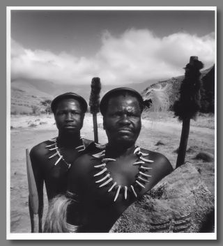 Original Gelatin Silver Print Portrait Photograph of Two Zulu Warriors]. Yousuf Karsh